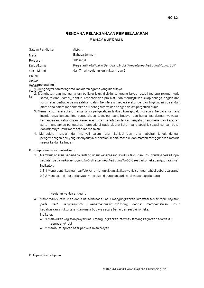HO-4.2 RENCANA PELAKSANAAN PEMBELAJARAN BAHASA JERMAN Satuan Pendidikan SMA...