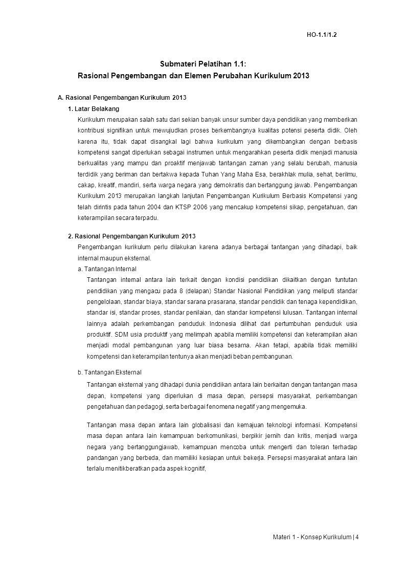HO-1.1/1.2 Submateri Pelatihan 1.1: Rasional Pengembangan dan Elemen Perubahan Kurikulum 2013 A.