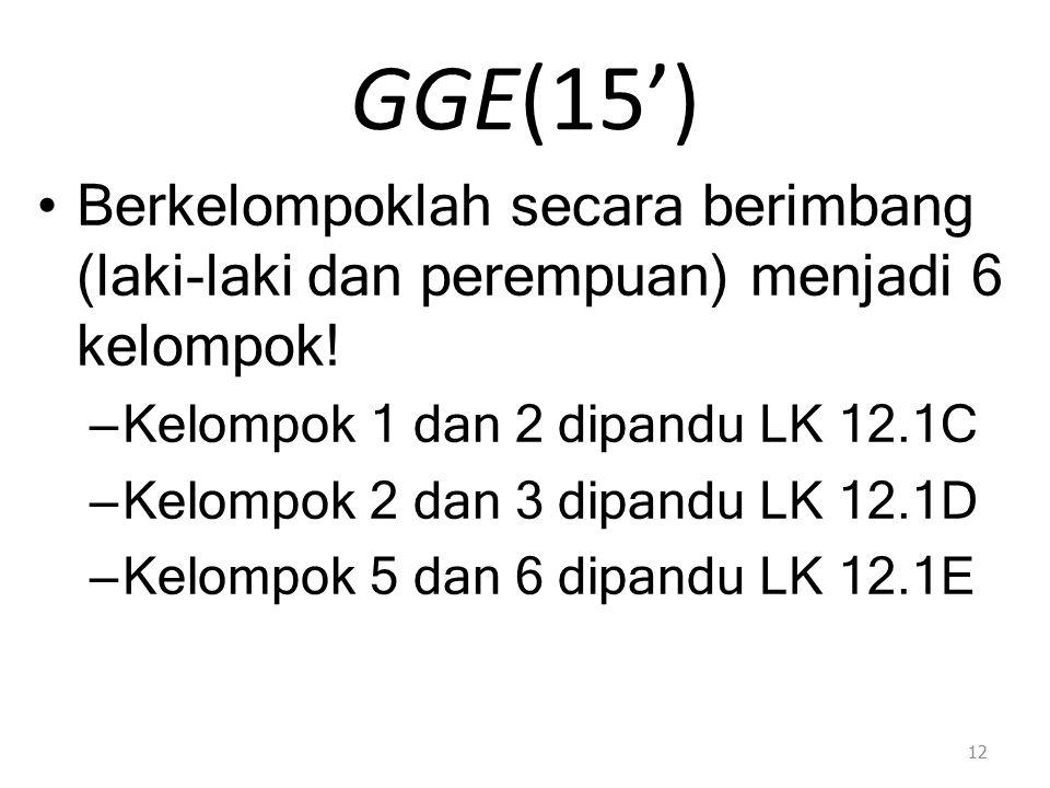 GGE(15') Berkelompoklah secara berimbang (laki-laki dan perempuan) menjadi 6 kelompok.