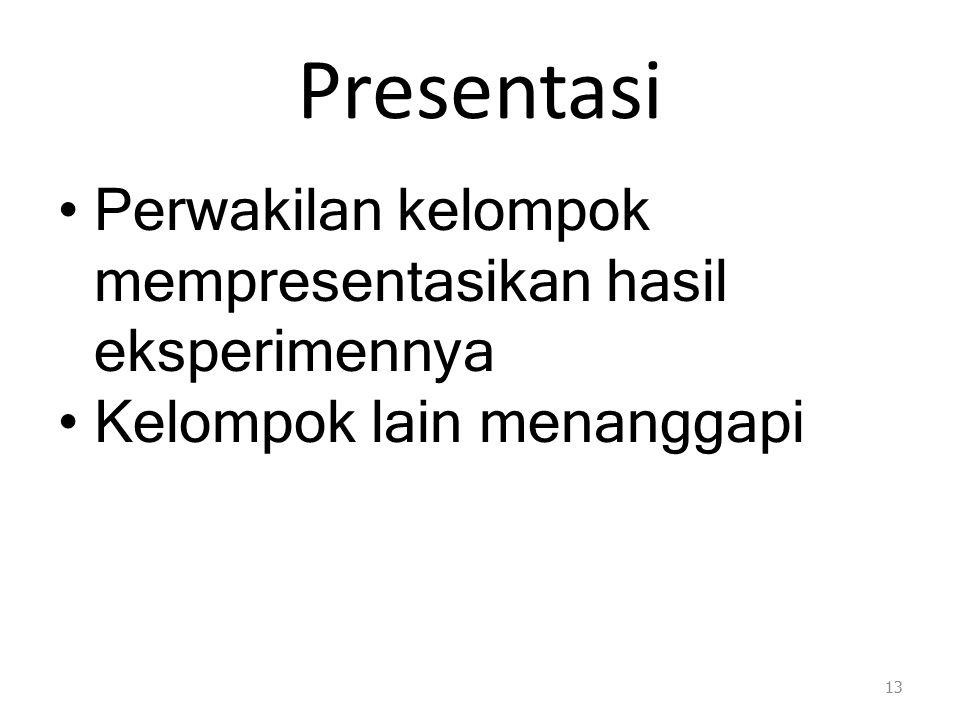 Presentasi Perwakilan kelompok mempresentasikan hasil eksperimennya Kelompok lain menanggapi 13