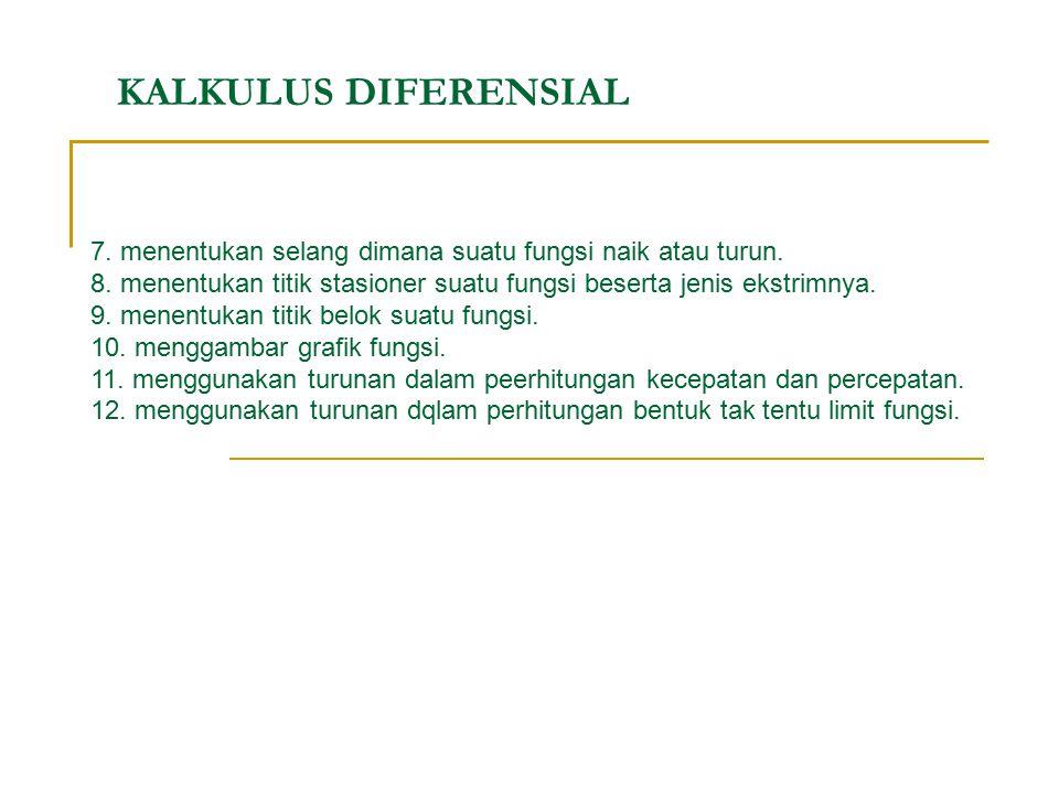 KALKULUS DIFERENSIAL 7. menentukan selang dimana suatu fungsi naik atau turun. 8. menentukan titik stasioner suatu fungsi beserta jenis ekstrimnya. 9.
