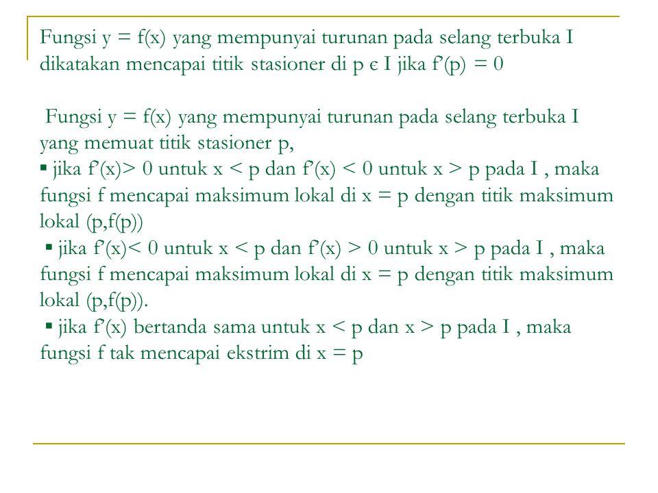 Fungsi y = f(x) yang mempunyai turunan pada selang terbuka I dikatakan mencapai titik stasioner di p є I jika f'(p) = 0 Fungsi y = f(x) yang mempunyai