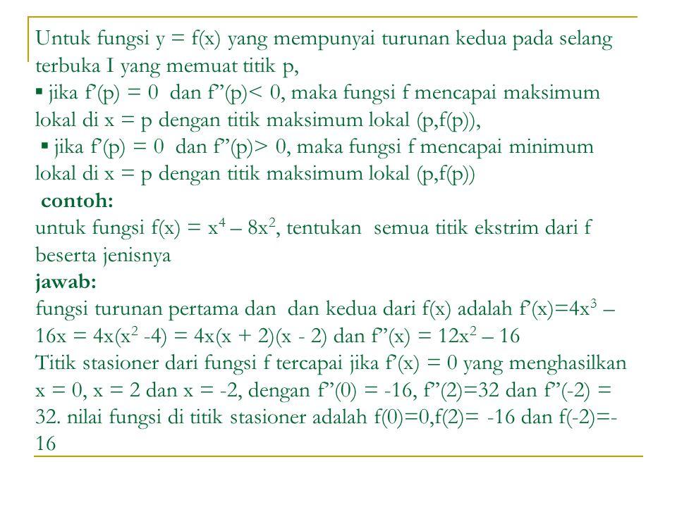 Untuk fungsi y = f(x) yang mempunyai turunan kedua pada selang terbuka I yang memuat titik p, ▪ jika f'(p) = 0 dan f''(p) 0, maka fungsi f mencapai minimum lokal di x = p dengan titik maksimum lokal (p,f(p)) contoh: untuk fungsi f(x) = x 4 – 8x 2, tentukan semua titik ekstrim dari f beserta jenisnya jawab: fungsi turunan pertama dan dan kedua dari f(x) adalah f'(x)=4x 3 – 16x = 4x(x 2 -4) = 4x(x + 2)(x - 2) dan f''(x) = 12x 2 – 16 Titik stasioner dari fungsi f tercapai jika f'(x) = 0 yang menghasilkan x = 0, x = 2 dan x = -2, dengan f''(0) = -16, f''(2)=32 dan f''(-2) = 32.