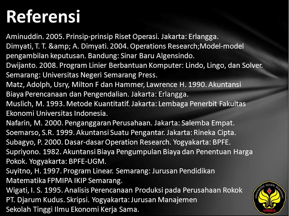 Referensi Aminuddin. 2005. Prinsip-prinsip Riset Operasi. Jakarta: Erlangga. Dimyati, T. T. & A. Dimyati. 2004. Operations Research;Model-model pe