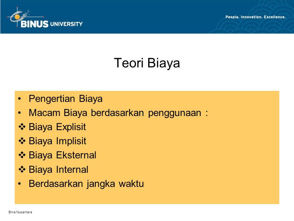 Bina Nusantara Minimum biaya C = 30.000TK + 5000M  5000 = TK.M  M = 5000/TK  C=30.000TK + 5000(5000/TK)    C/  TK = 30.000 – (25 juta)/TK 2 = 0