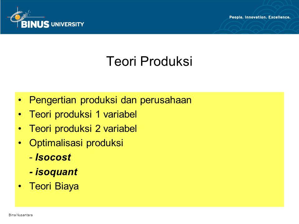 Bina Nusantara Teori Produksi (perilaku produsen) Materi : Teori produksi dan teori penerimaan dan teori biaya