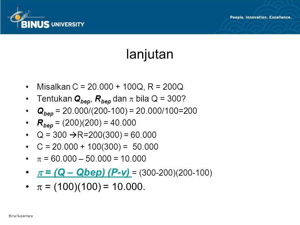 Bina Nusantara Analisis Biaya dan pendapatan Analisis BEP R – C = 0  P.Q = FC + vQ  VC = vQ P.Q – vQ = FC  Q bep = FC/(P – v)  R bep = Q bep. P. M