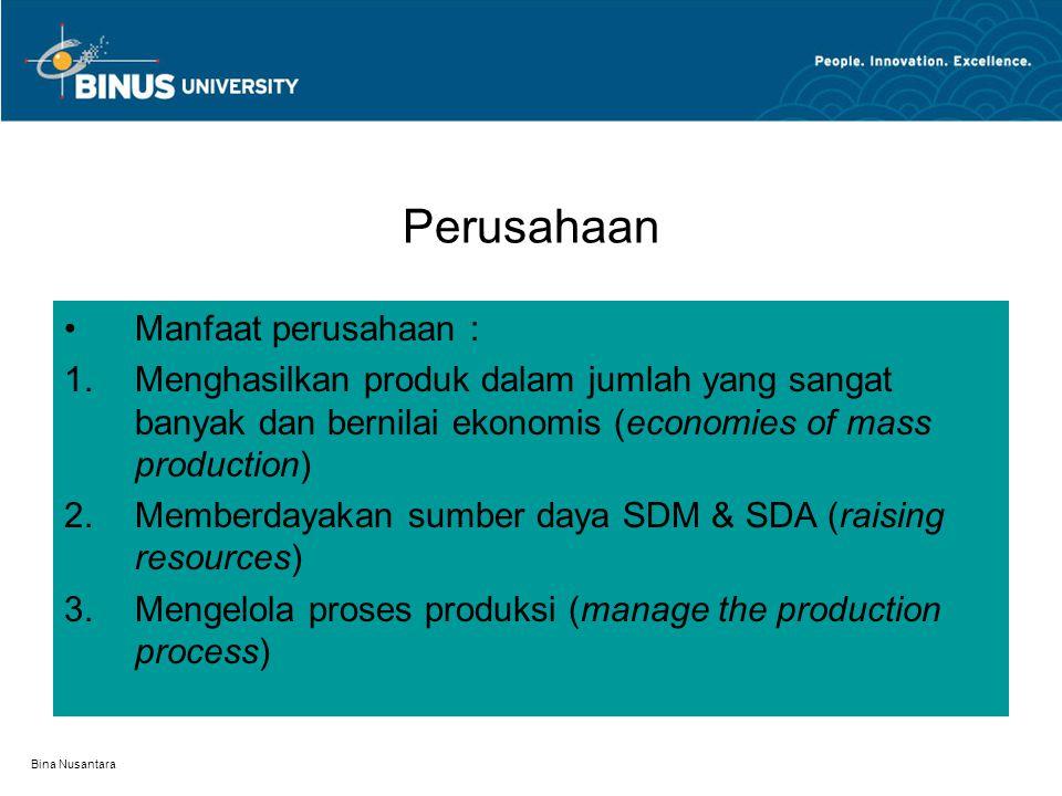 Bina Nusantara Produksi dan Aspeknya Produksi adalah : Semua kegiatan untuk menambah daya guna suatu barang. Fungsi produksi adalah jumlah produksi ma