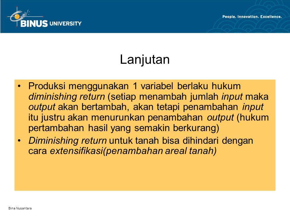 Bina Nusantara Teori produksi 1 variabel Variabel produksi : Tenaga kerja, modal, SDA dan keahlian(teknologi). Produksi hanya menggunakan 1 variabel S