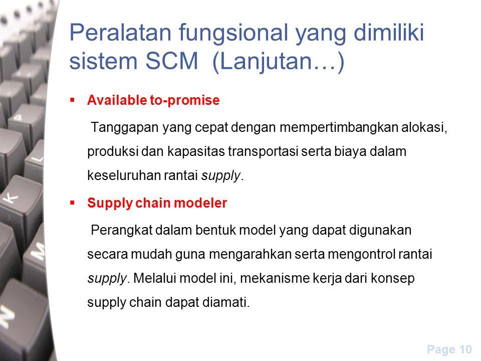 Page 10 Peralatan fungsional yang dimiliki sistem SCM (Lanjutan…)  Available to-promise Tanggapan yang cepat dengan mempertimbangkan alokasi, produksi dan kapasitas transportasi serta biaya dalam keseluruhan rantai supply.