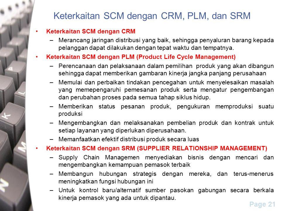 Page 21 Keterkaitan SCM dengan CRM, PLM, dan SRM Keterkaitan SCM dengan CRM –Merancang jaringan distribusi yang baik, sehingga penyaluran barang kepada pelanggan dapat dilakukan dengan tepat waktu dan tempatnya.