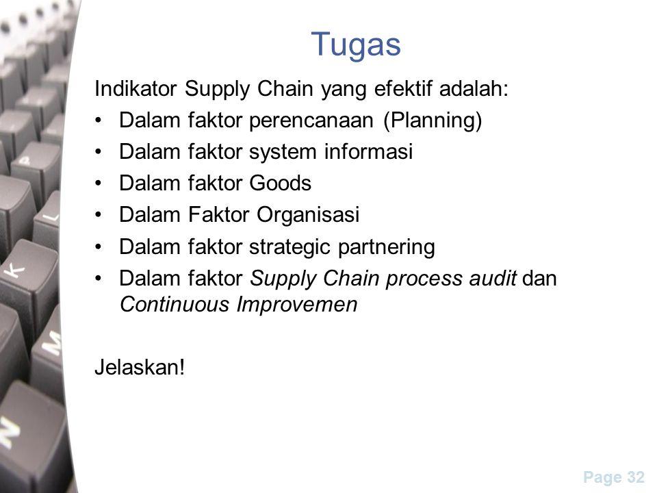Page 32 Tugas Indikator Supply Chain yang efektif adalah: Dalam faktor perencanaan (Planning) Dalam faktor system informasi Dalam faktor Goods Dalam Faktor Organisasi Dalam faktor strategic partnering Dalam faktor Supply Chain process audit dan Continuous Improvemen Jelaskan!