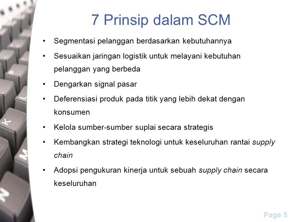 Page 5 7 Prinsip dalam SCM Segmentasi pelanggan berdasarkan kebutuhannya Sesuaikan jaringan logistik untuk melayani kebutuhan pelanggan yang berbeda D
