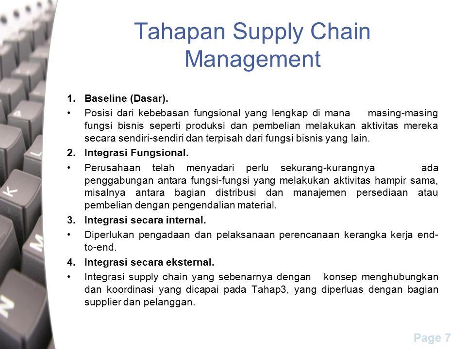 Page 7 Tahapan Supply Chain Management 1.Baseline (Dasar). Posisi dari kebebasan fungsional yang lengkap di mana masing-masing fungsi bisnis seperti p