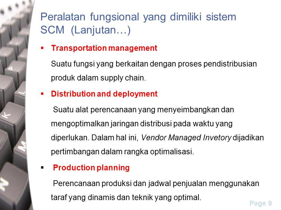 Page 9 Peralatan fungsional yang dimiliki sistem SCM (Lanjutan…)  Transportation management Suatu fungsi yang berkaitan dengan proses pendistribusian produk dalam supply chain.