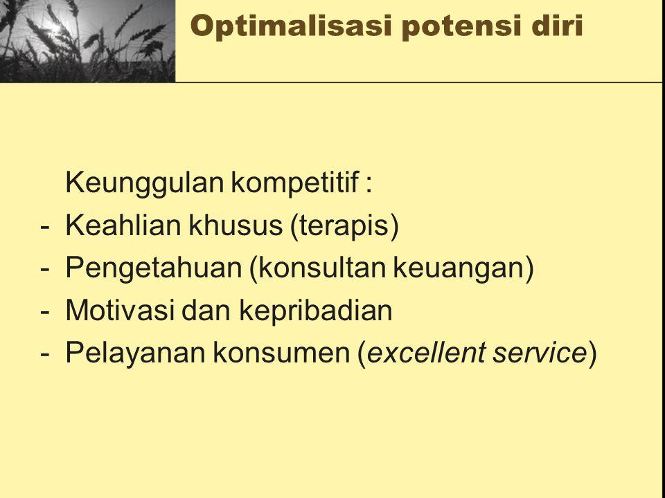 Optimalisasi potensi diri Keunggulan kompetitif : -Keahlian khusus (terapis) -Pengetahuan (konsultan keuangan) -Motivasi dan kepribadian -Pelayanan ko