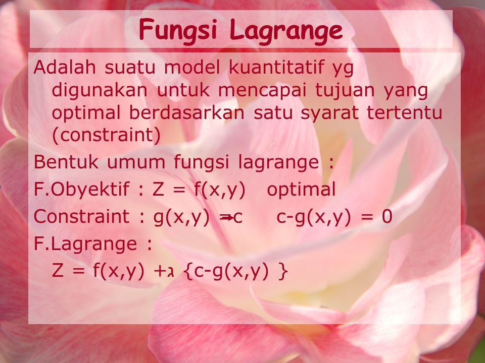 Fungsi Lagrange Adalah suatu model kuantitatif yg digunakan untuk mencapai tujuan yang optimal berdasarkan satu syarat tertentu (constraint) Bentuk um