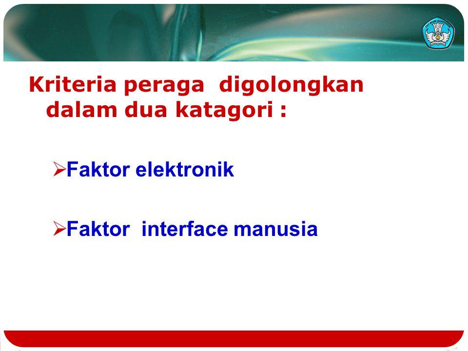 Kriteria peraga digolongkan dalam dua katagori :  Faktor elektronik  Faktor interface manusia