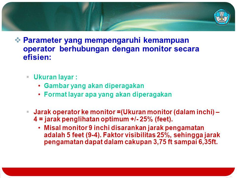  Parameter yang mempengaruhi kemampuan operator berhubungan dengan monitor secara efisien:  Ukuran layar : Gambar yang akan diperagakan Format layar apa yang akan diperagakan  Jarak operator ke monitor =(Ukuran monitor (dalam inchi) – 4 = jarak penglihatan optimum +/- 25% (feet).