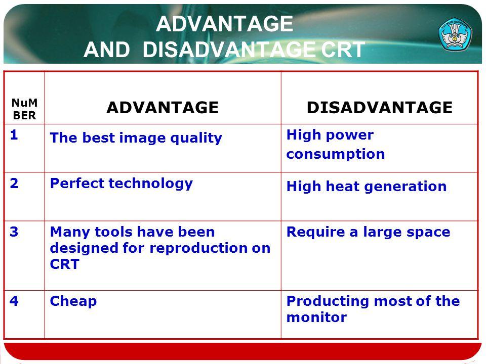 ADVANTAGE AND DISADVANTAGE CRT NuM BER ADVANTAGEDISADVANTAGE 1 The best image quality High power consumption 2Perfect technology High heat generation
