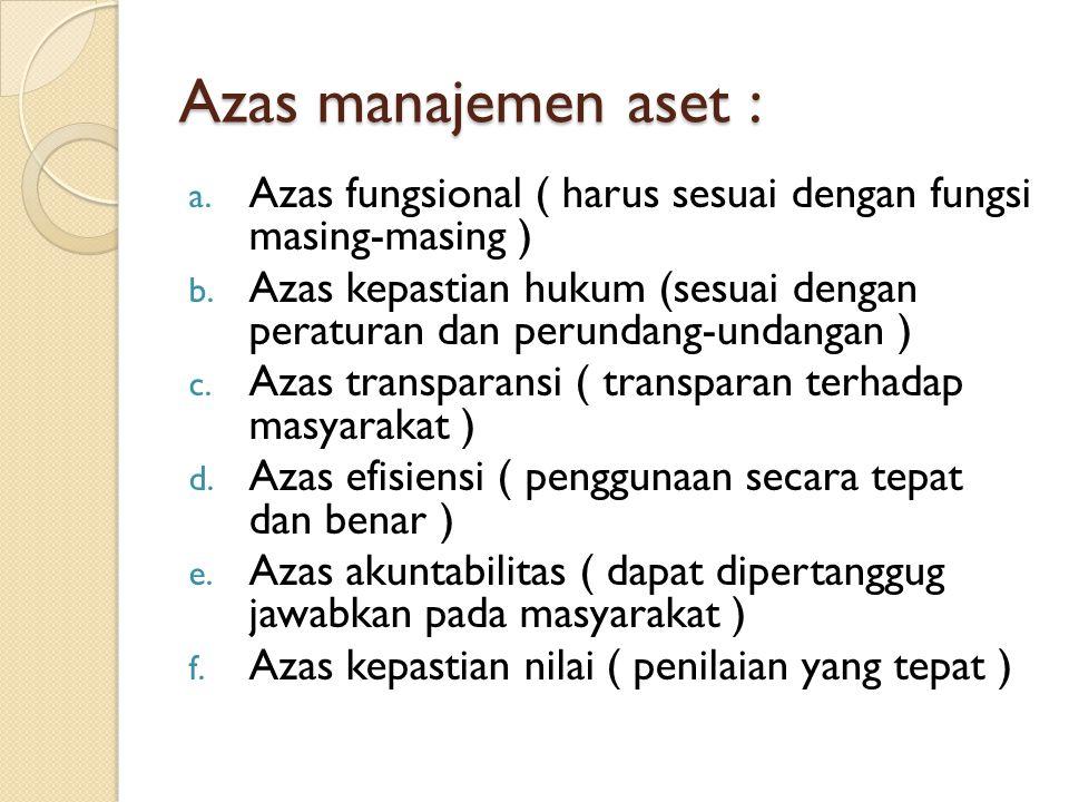 Azas manajemen aset : a. Azas fungsional ( harus sesuai dengan fungsi masing-masing ) b. Azas kepastian hukum (sesuai dengan peraturan dan perundang-u