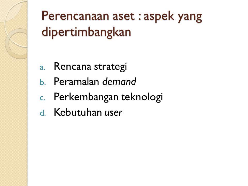 Perencanaan aset : aspek yang dipertimbangkan a. Rencana strategi b. Peramalan demand c. Perkembangan teknologi d. Kebutuhan user