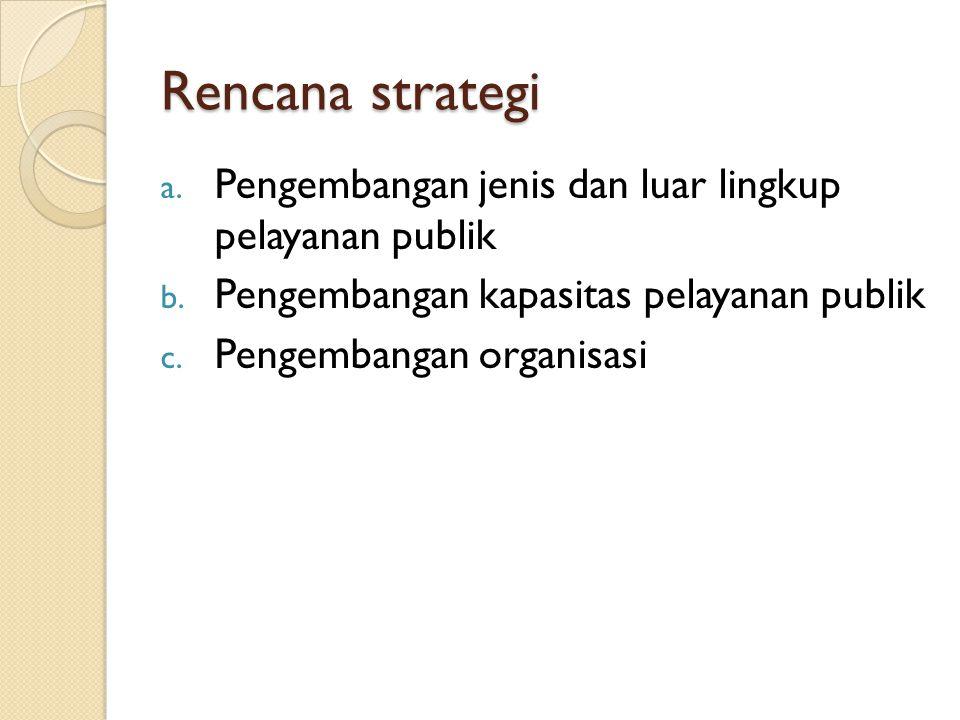 Rencana strategi a. Pengembangan jenis dan luar lingkup pelayanan publik b. Pengembangan kapasitas pelayanan publik c. Pengembangan organisasi