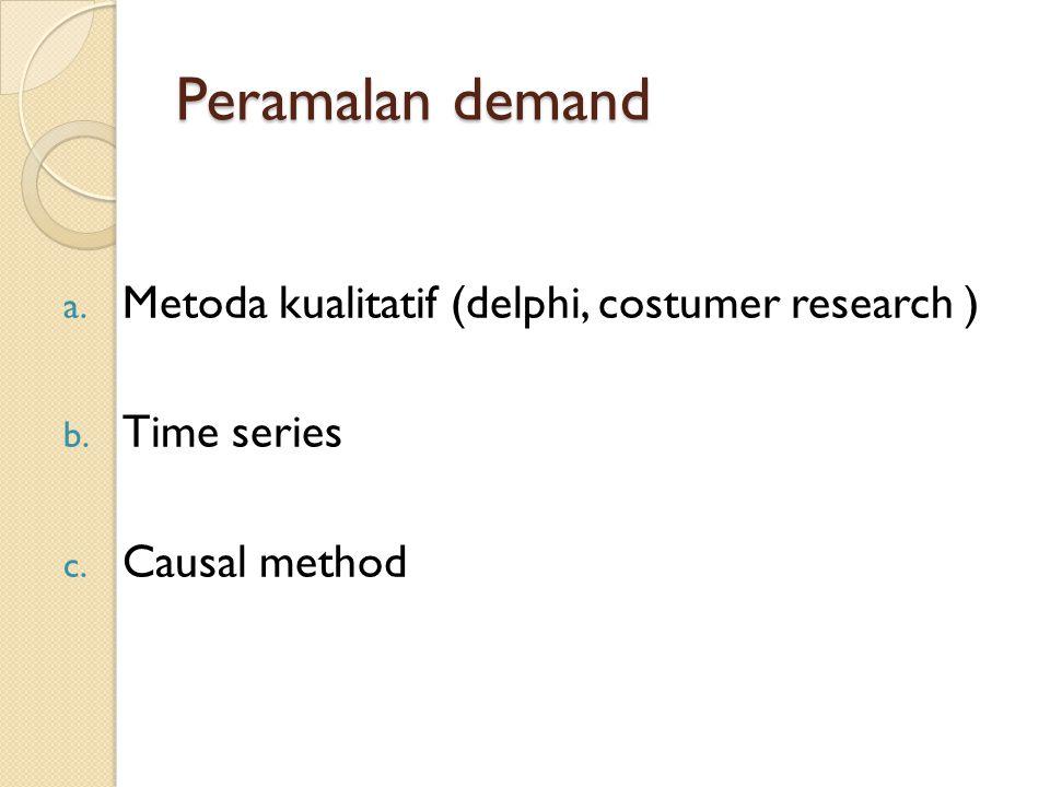 Peramalan demand a. Metoda kualitatif (delphi, costumer research ) b. Time series c. Causal method