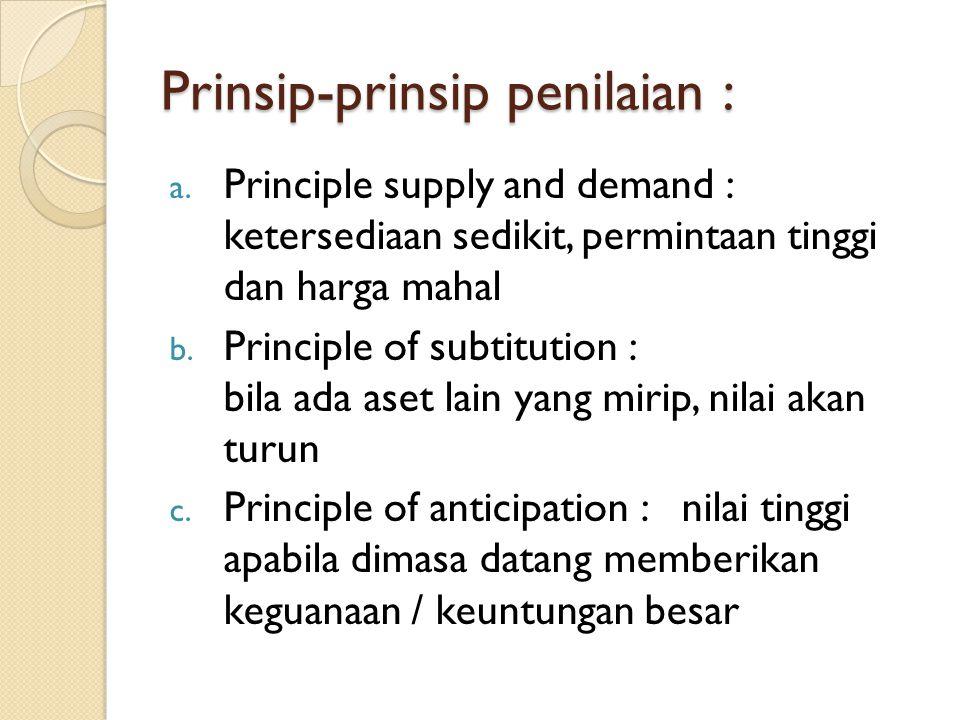 Prinsip-prinsip penilaian : a. Principle supply and demand : ketersediaan sedikit, permintaan tinggi dan harga mahal b. Principle of subtitution : bil