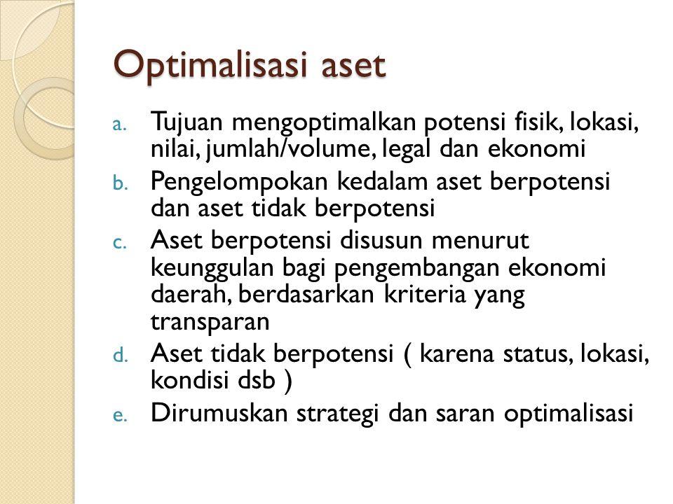 Optimalisasi aset a. Tujuan mengoptimalkan potensi fisik, lokasi, nilai, jumlah/volume, legal dan ekonomi b. Pengelompokan kedalam aset berpotensi dan