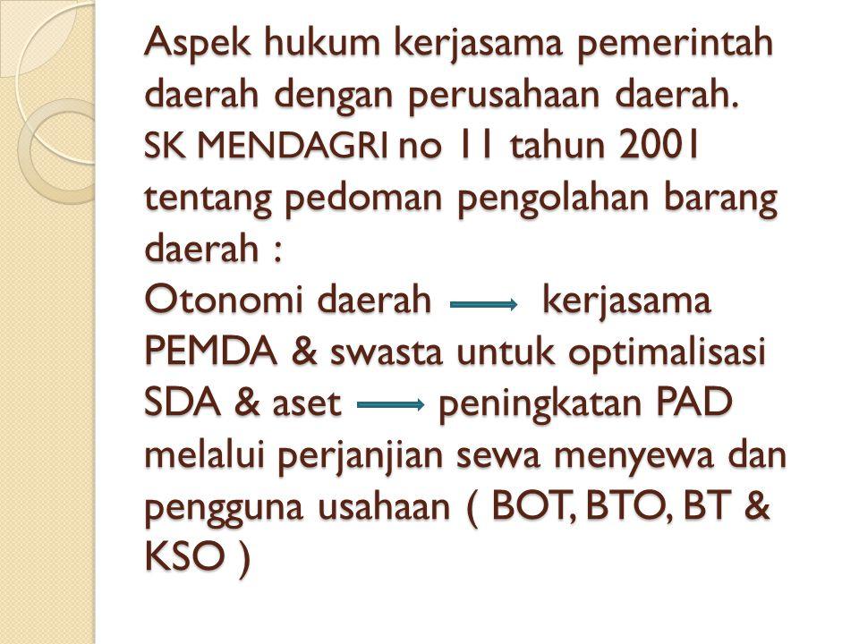 Aspek hukum kerjasama pemerintah daerah dengan perusahaan daerah. SK MENDAGRI no 11 tahun 2001 tentang pedoman pengolahan barang daerah : Otonomi daer