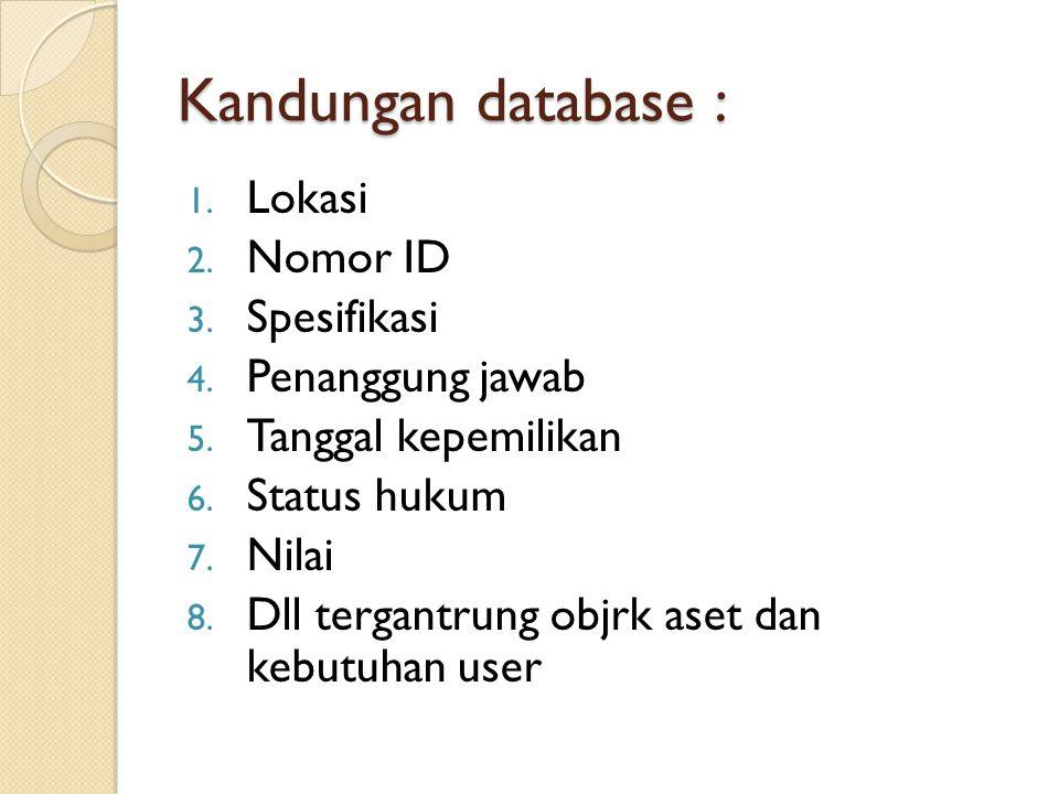 Kandungan database : 1. Lokasi 2. Nomor ID 3. Spesifikasi 4. Penanggung jawab 5. Tanggal kepemilikan 6. Status hukum 7. Nilai 8. Dll tergantrung objrk