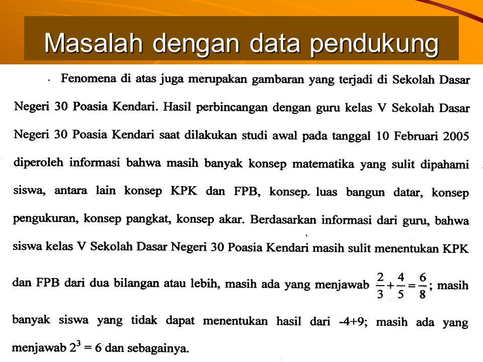 Masalah dengan data pendukung