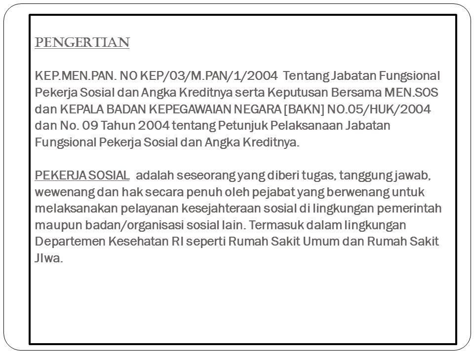 PENGERTIAN KEP.MEN.PAN. NO KEP/03/M.PAN/1/2004 Tentang Jabatan Fungsional Pekerja Sosial dan Angka Kreditnya serta Keputusan Bersama MEN.SOS dan KEPAL