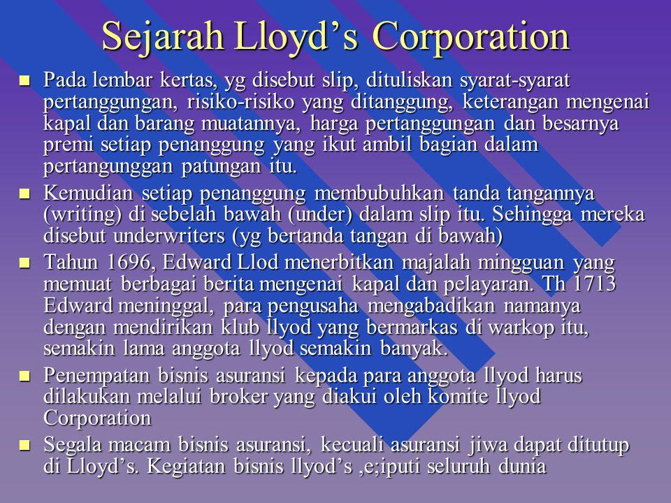 Sejarah Lloyd's Corporation n Pada lembar kertas, yg disebut slip, dituliskan syarat-syarat pertanggungan, risiko-risiko yang ditanggung, keterangan m