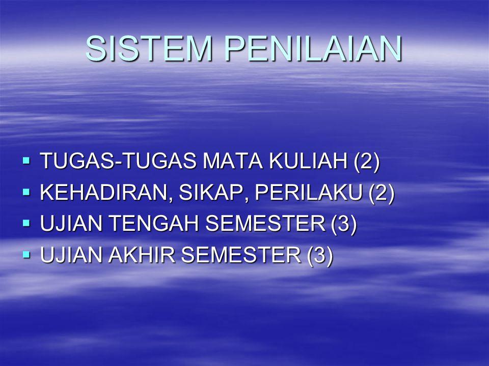 SISTEM PENILAIAN TTTTUGAS-TUGAS MATA KULIAH (2) KKKKEHADIRAN, SIKAP, PERILAKU (2) UUUUJIAN TENGAH SEMESTER (3) UUUUJIAN AKHIR SEMESTER (3)