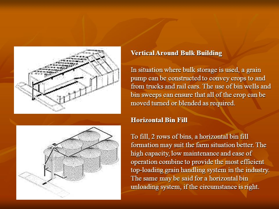 Vertical Around Bulk Building In situation where bulk storage is used, a grain pump can be constructed to convey crops to and from trucks and rail cars.