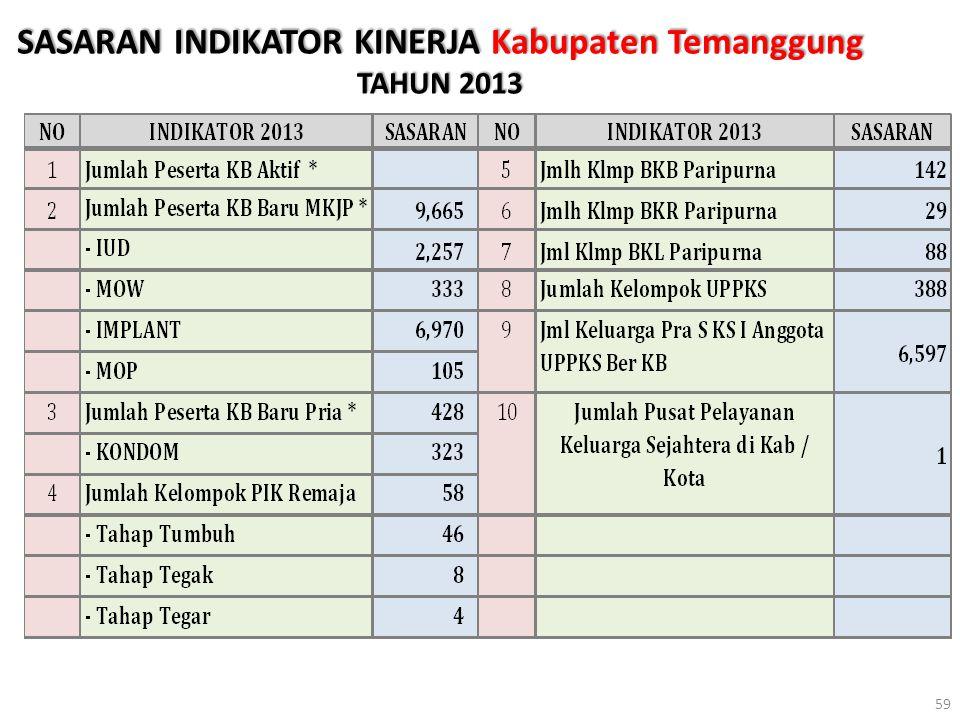 SASARAN INDIKATOR KINERJA Kabupaten Temanggung TAHUN 2013 59