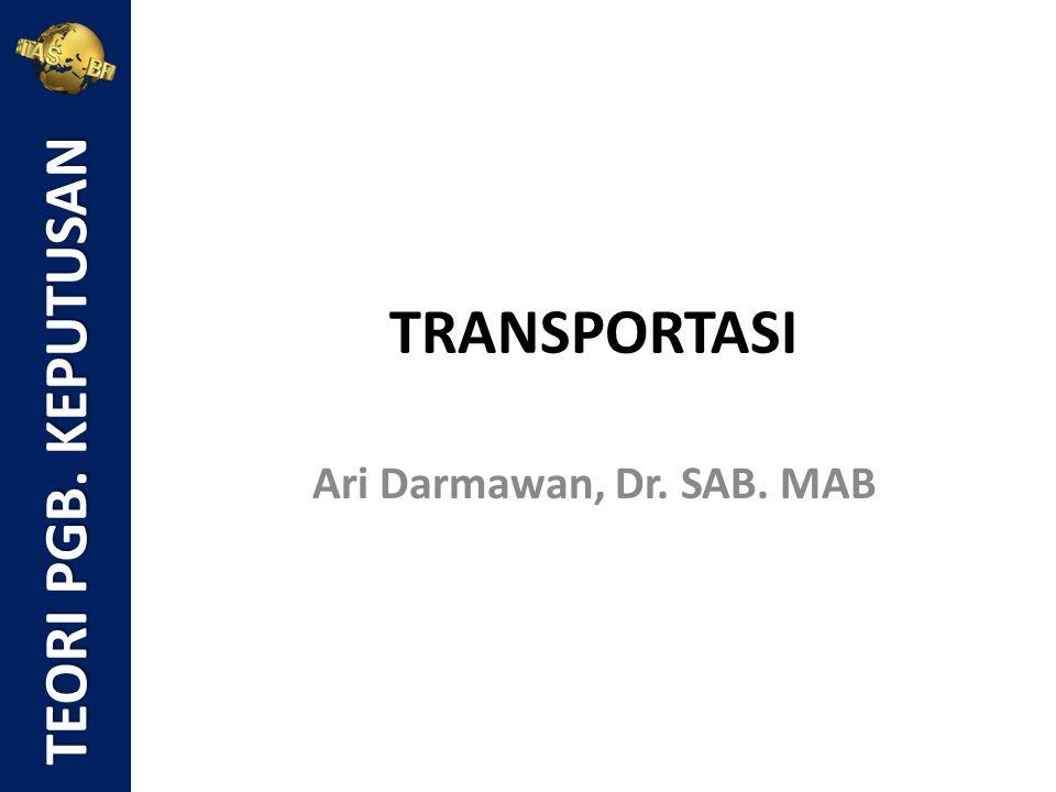 Rumus: Distribusi optimal di dalam model transportasi adalah distribusi barang dari sumber-sumber untuk memenuhi permintaan tujuan agar biaya total distribusi minimum.