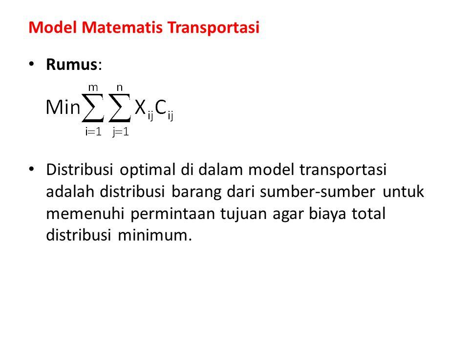 Rumus: Distribusi optimal di dalam model transportasi adalah distribusi barang dari sumber-sumber untuk memenuhi permintaan tujuan agar biaya total di