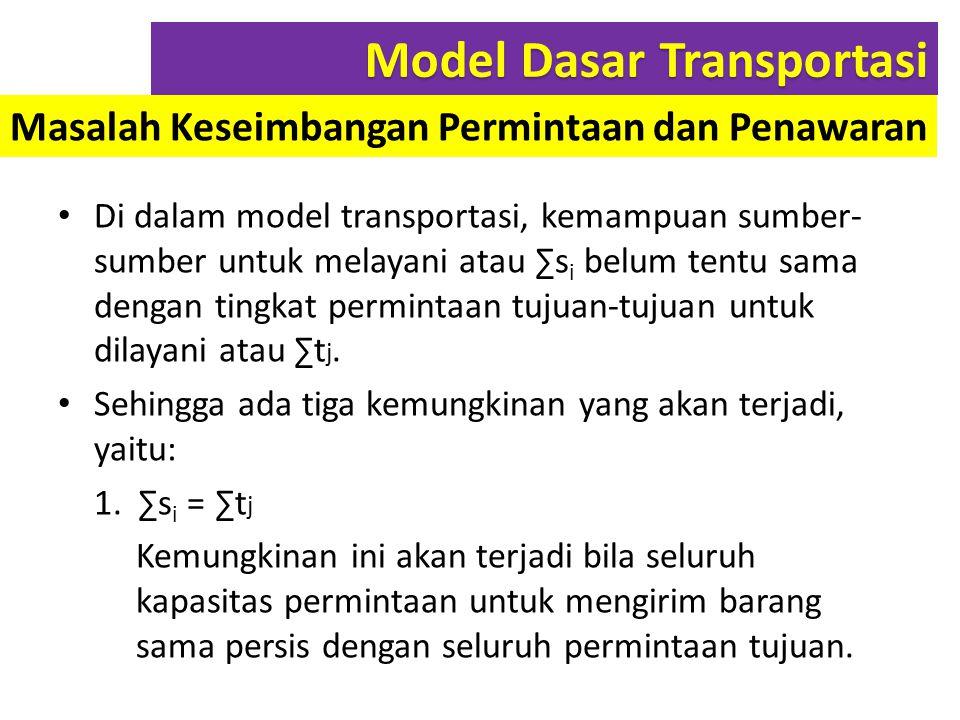 Di dalam model transportasi, kemampuan sumber- sumber untuk melayani atau ∑s i belum tentu sama dengan tingkat permintaan tujuan-tujuan untuk dilayani