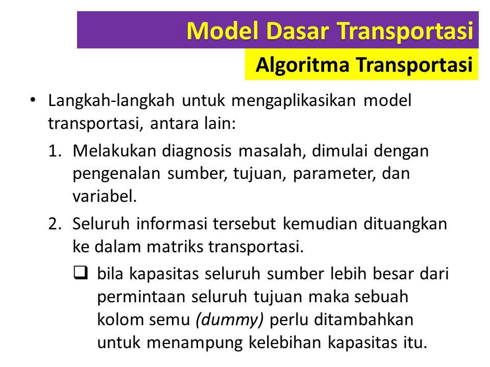 Langkah-langkah untuk mengaplikasikan model transportasi, antara lain: 1.Melakukan diagnosis masalah, dimulai dengan pengenalan sumber, tujuan, parame