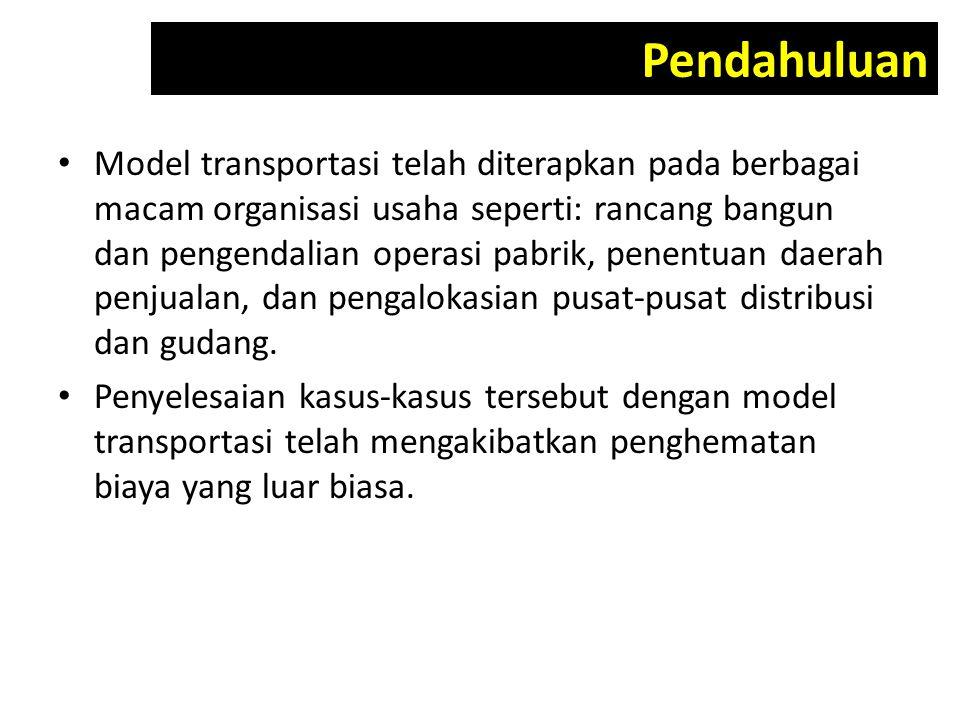 Model transportasi telah diterapkan pada berbagai macam organisasi usaha seperti: rancang bangun dan pengendalian operasi pabrik, penentuan daerah pen