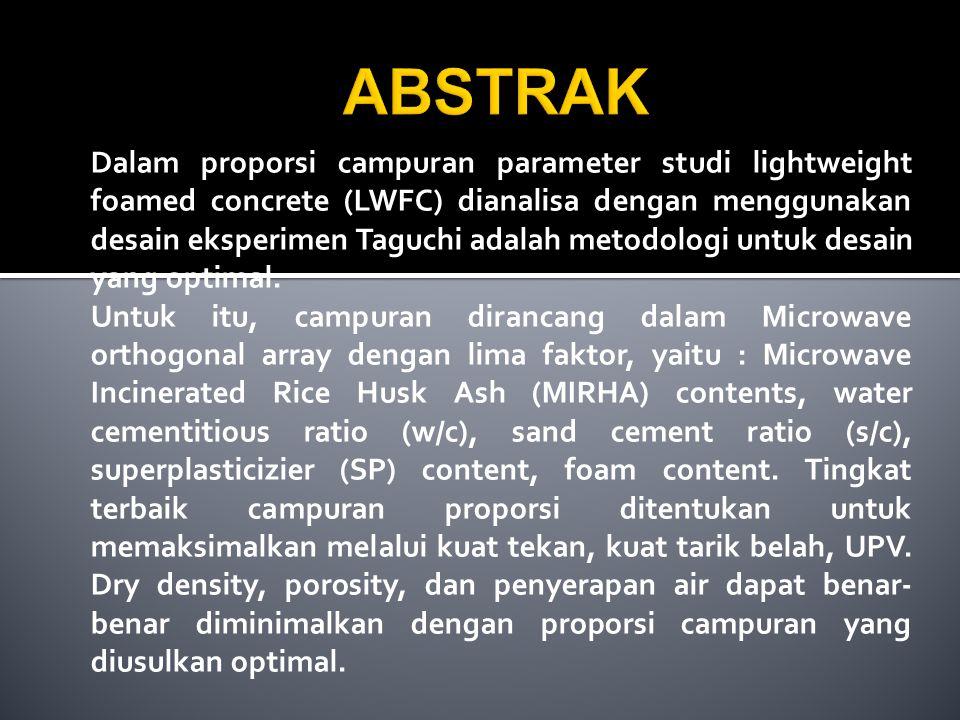Dalam proporsi campuran parameter studi lightweight foamed concrete (LWFC) dianalisa dengan menggunakan desain eksperimen Taguchi adalah metodologi un