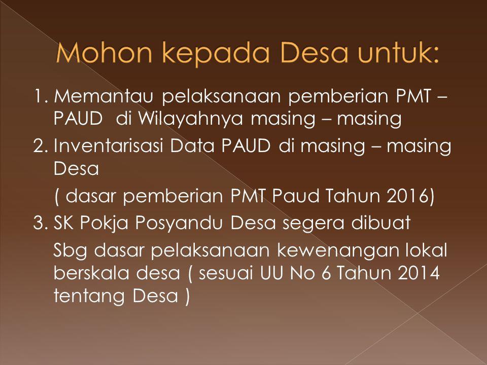 1. Memantau pelaksanaan pemberian PMT – PAUD di Wilayahnya masing – masing 2. Inventarisasi Data PAUD di masing – masing Desa ( dasar pemberian PMT Pa
