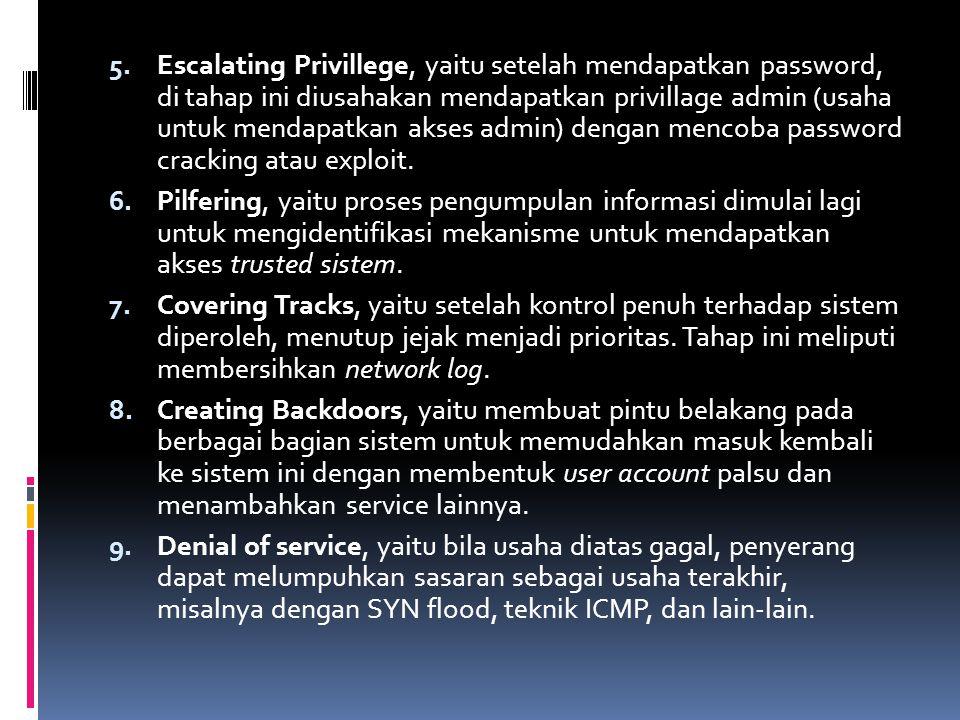 5. Escalating Privillege, yaitu setelah mendapatkan password, di tahap ini diusahakan mendapatkan privillage admin (usaha untuk mendapatkan akses admi