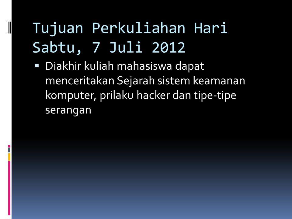 Tujuan Perkuliahan Hari Sabtu, 7 Juli 2012  Diakhir kuliah mahasiswa dapat menceritakan Sejarah sistem keamanan komputer, prilaku hacker dan tipe-tip
