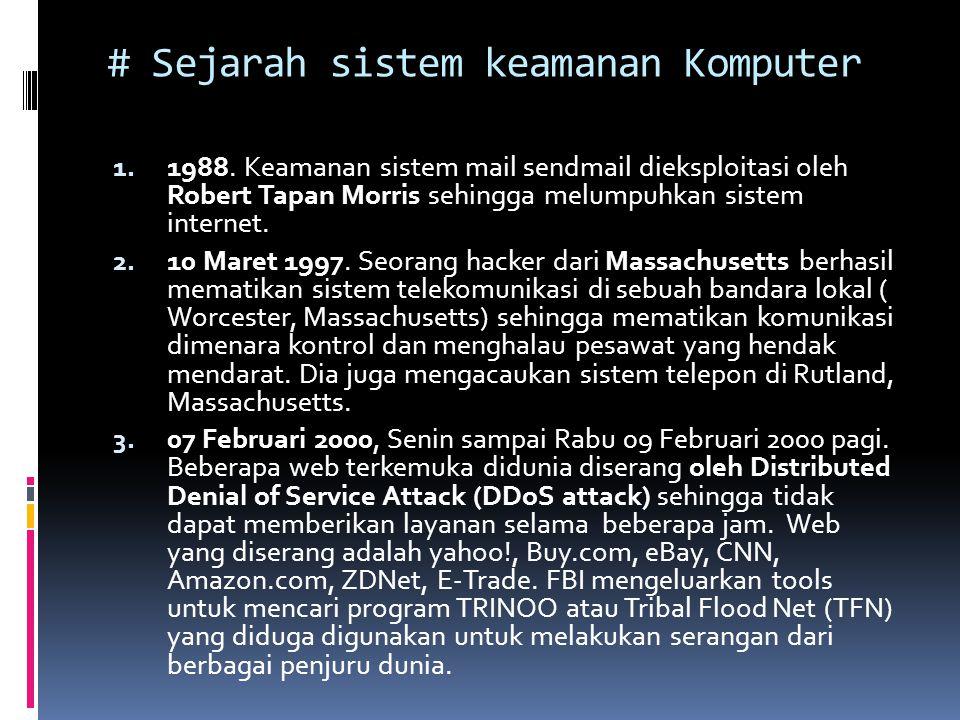 # Sejarah sistem keamanan Komputer 1. 1988. Keamanan sistem mail sendmail dieksploitasi oleh Robert Tapan Morris sehingga melumpuhkan sistem internet.