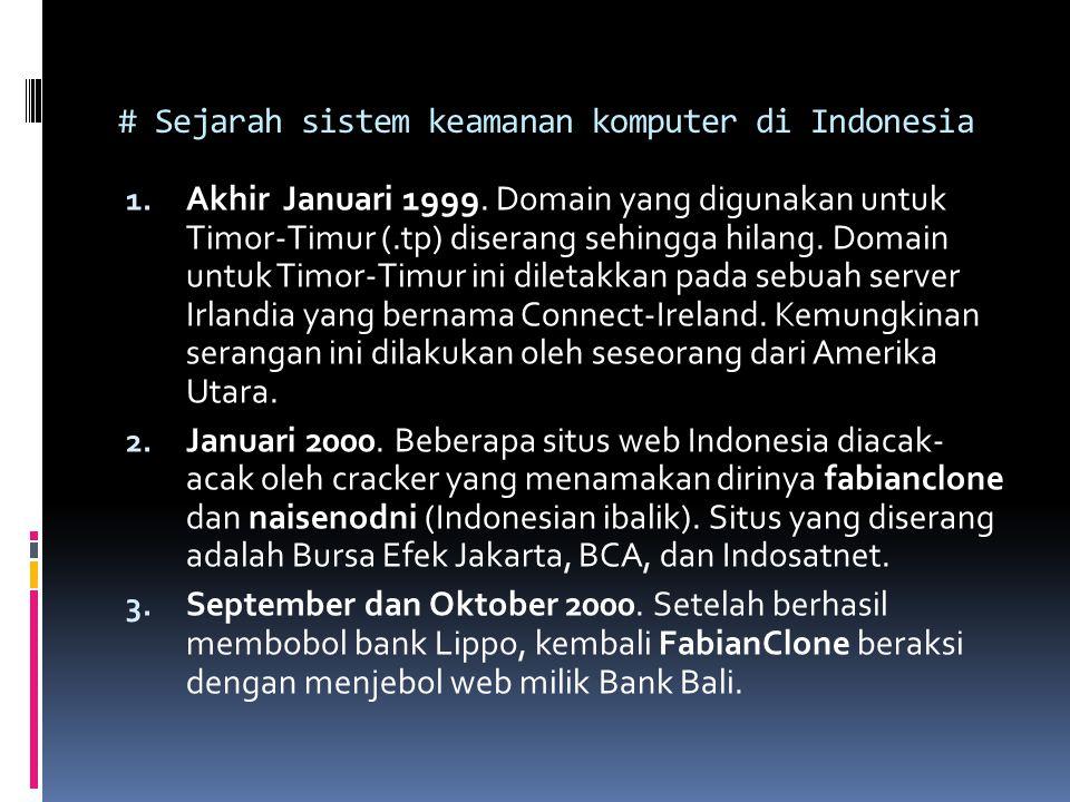 # Sejarah sistem keamanan komputer di Indonesia 1. Akhir Januari 1999. Domain yang digunakan untuk Timor-Timur (.tp) diserang sehingga hilang. Domain