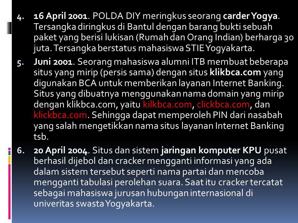 4. 16 April 2001. POLDA DIY meringkus seorang carder Yogya. Tersangka diringkus di Bantul dengan barang bukti sebuah paket yang berisi lukisan (Rumah